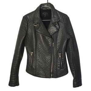 MAVI Grey Pebbled Vegan Leather Moto Jacket M